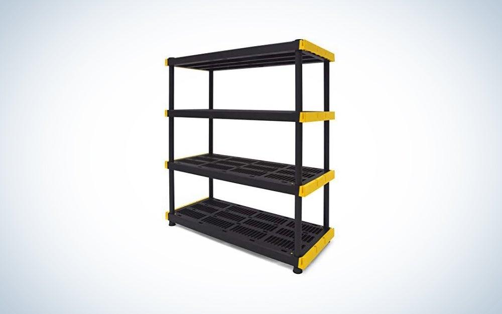 yellow and black storage rack
