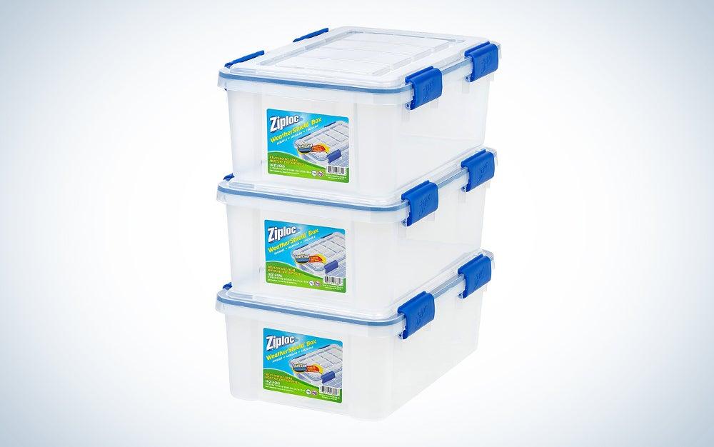 three clear storage bins stacked