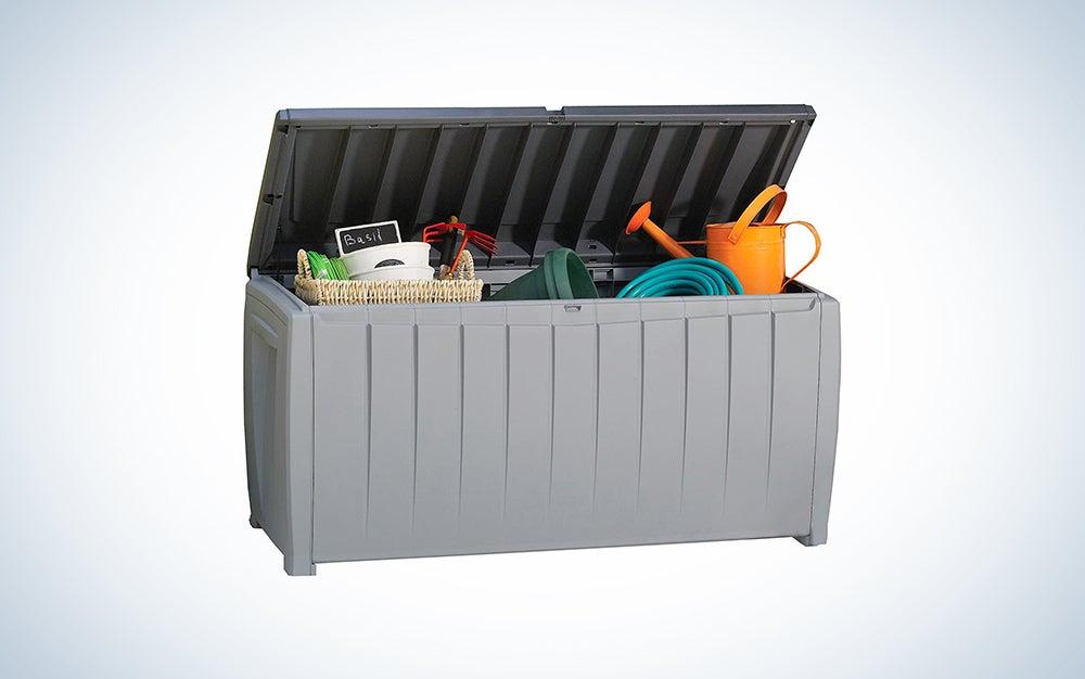 grey Keter storage bin