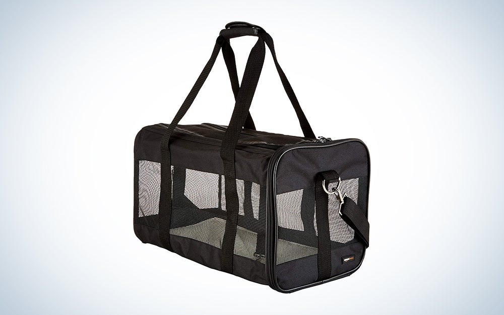 black soft sided pet carrier