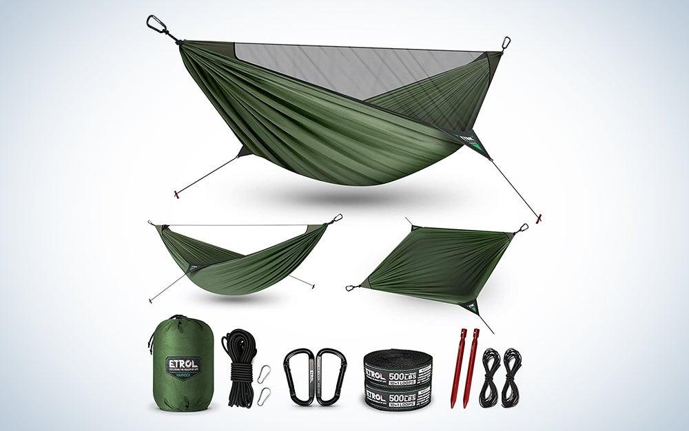 green outdoor camping hammock