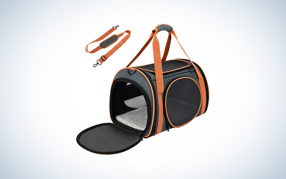 soft sided black and orange cat carrier