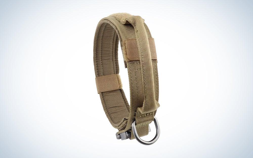 brown tactical dog collar