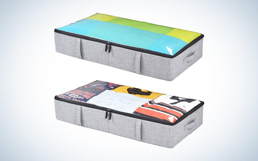 two grey under bed storage bins