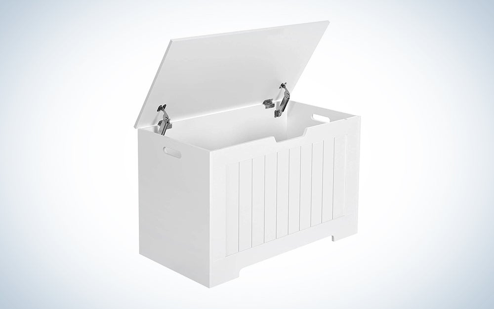 white toy storage with lid open
