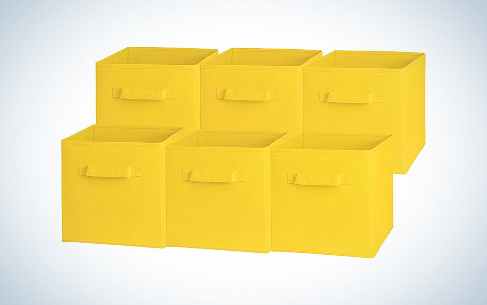 six yellow storage boxes