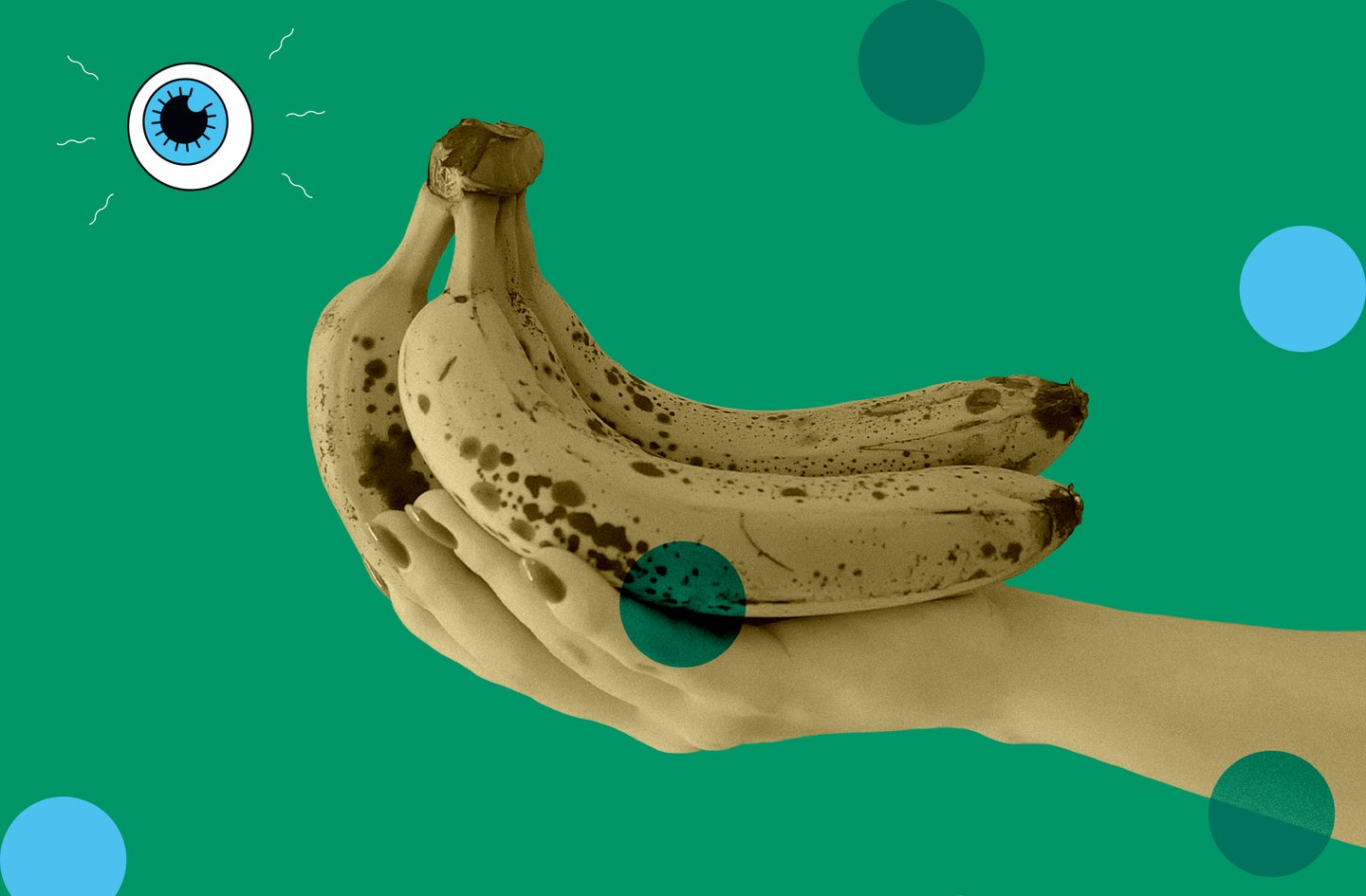 someone holds a bunch of bananas on a green background with blue and green polka dots and a small eyeball logo in the upper left corner