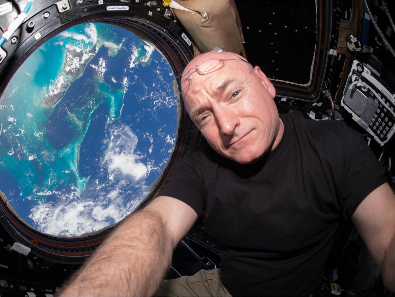 Astronaut Scott Kelly taking a selfie in space