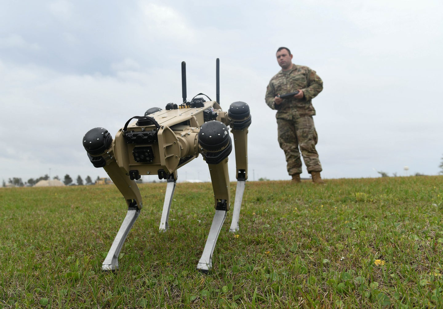 A robotic dog and its handler.