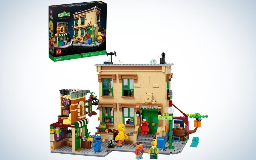 Sesame Street and a store portrait formed by colorful lego.