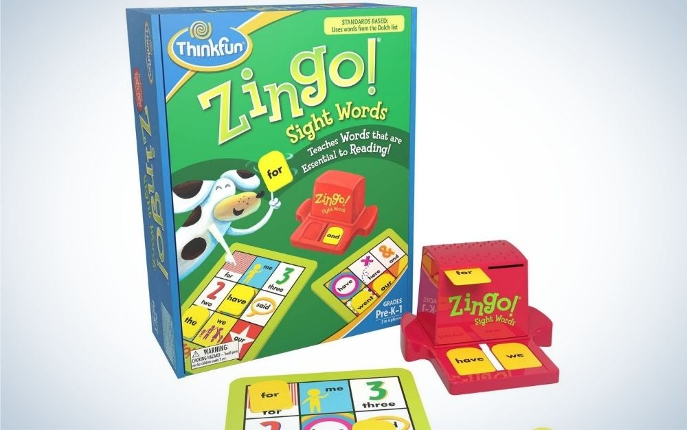 Green and blue ThinkFun Zingo Sight Words Game for Kids with a small pink zingo sights words game in the corner.