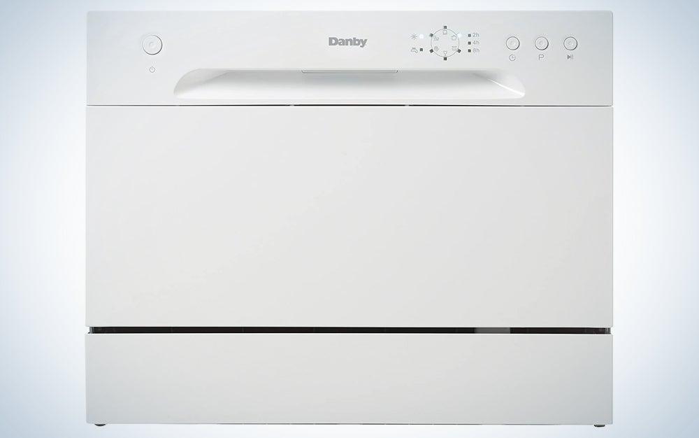 white countertop dishwasher