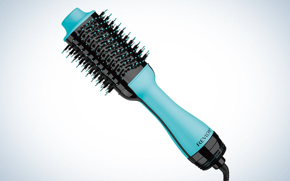 teal hot air hair brush