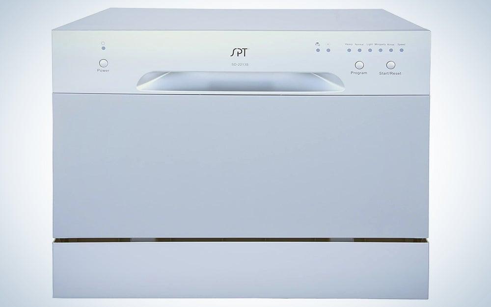 silver countertop dishwasher