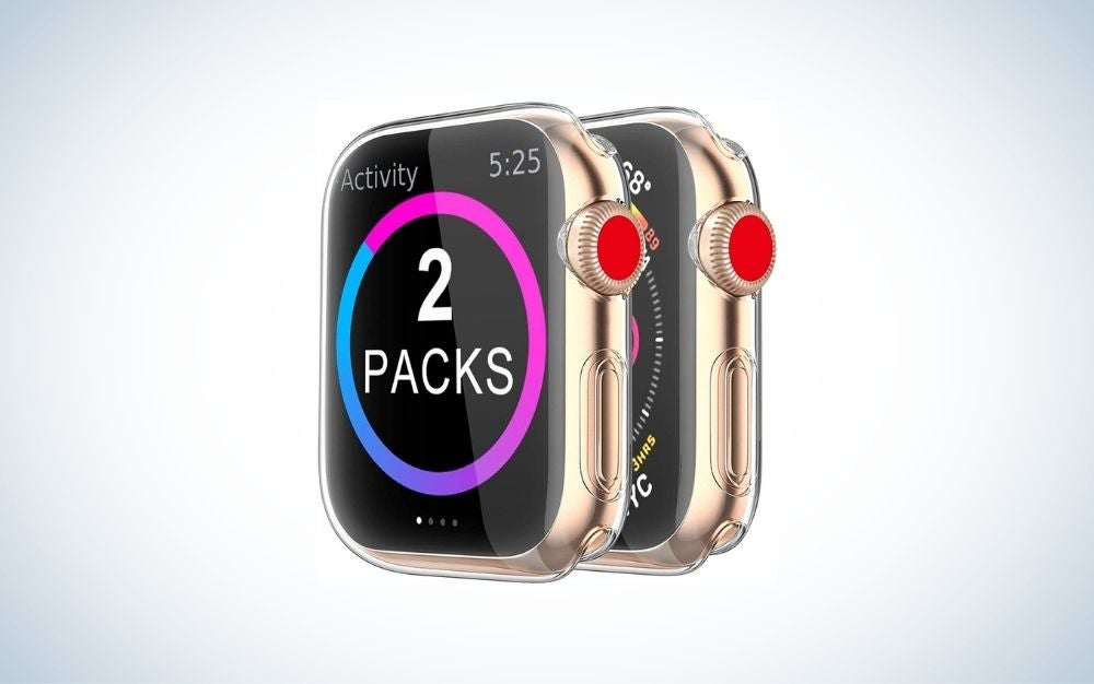 Clear Apple Watch case covering a rose gold iWatch