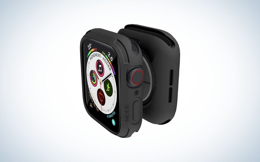 Black and protective Apple Watch case covering a black iWatch