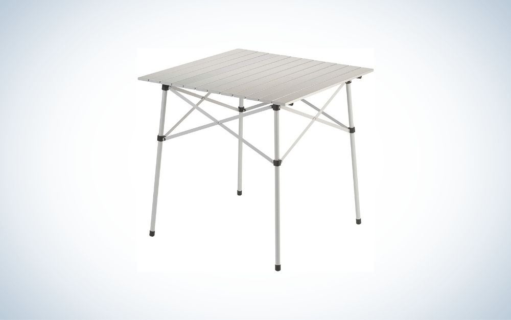 White aluminum folding table for outdoor camping