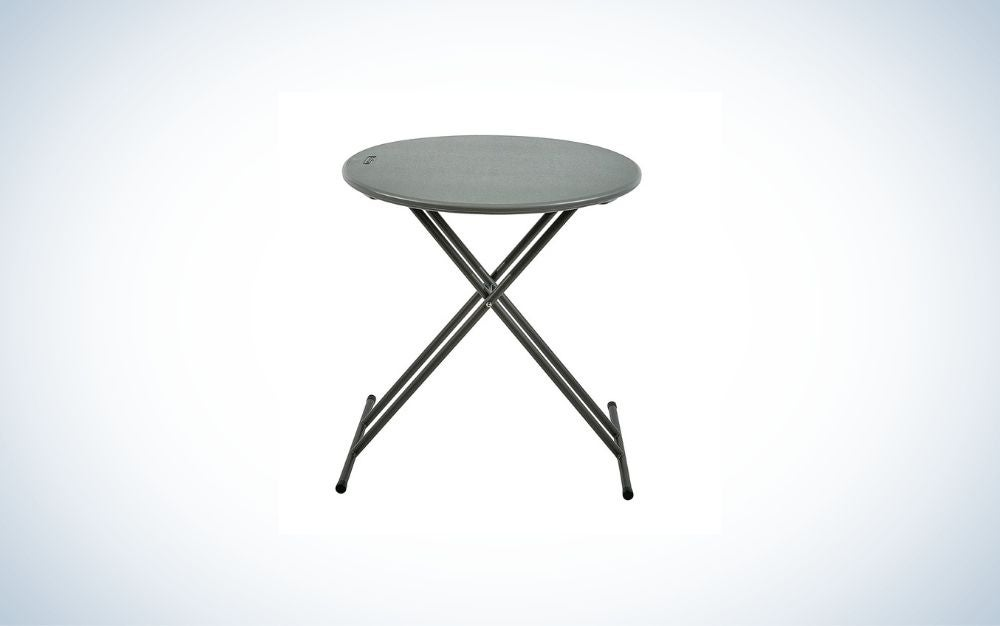 Round and charcoal folding table with black legs