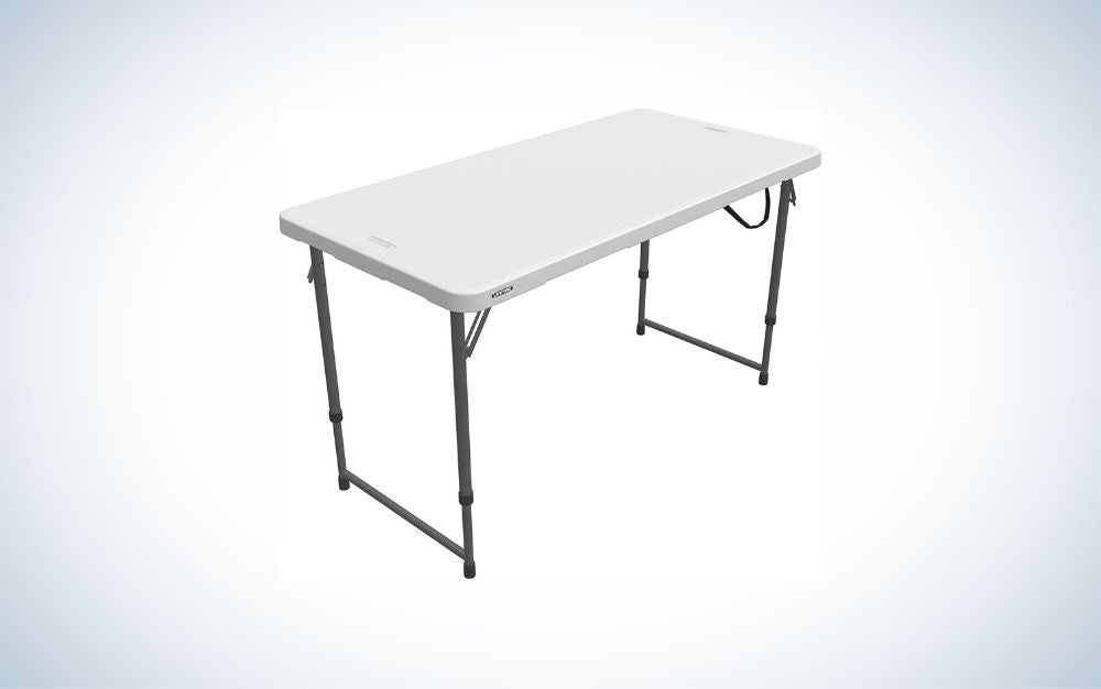 Rectangular white folding table with black legs