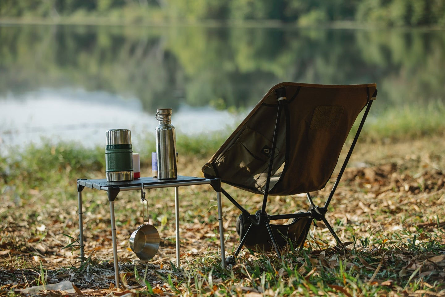 Folding table sitting outside in the nature