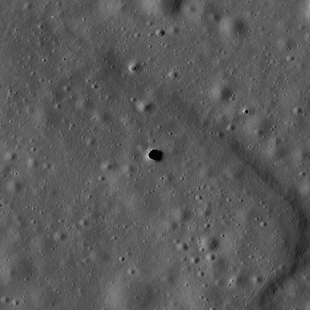 aerial view of the marius hills pit on the moon