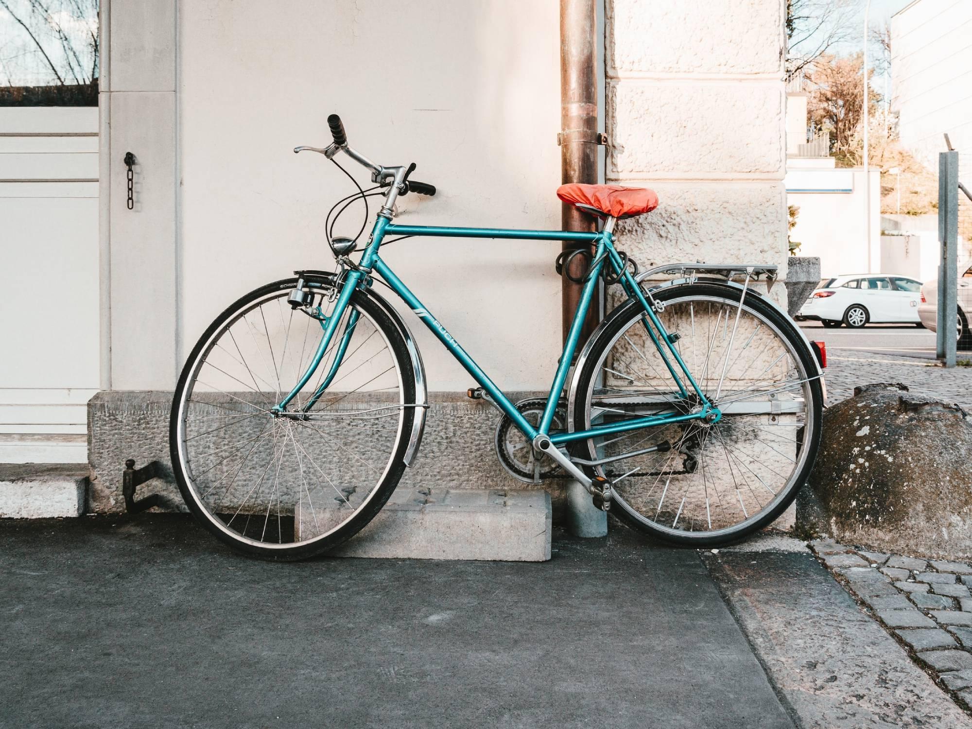bike resting against wall