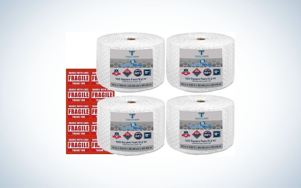 4 bubble wrap rolls with 10 fragile stickers