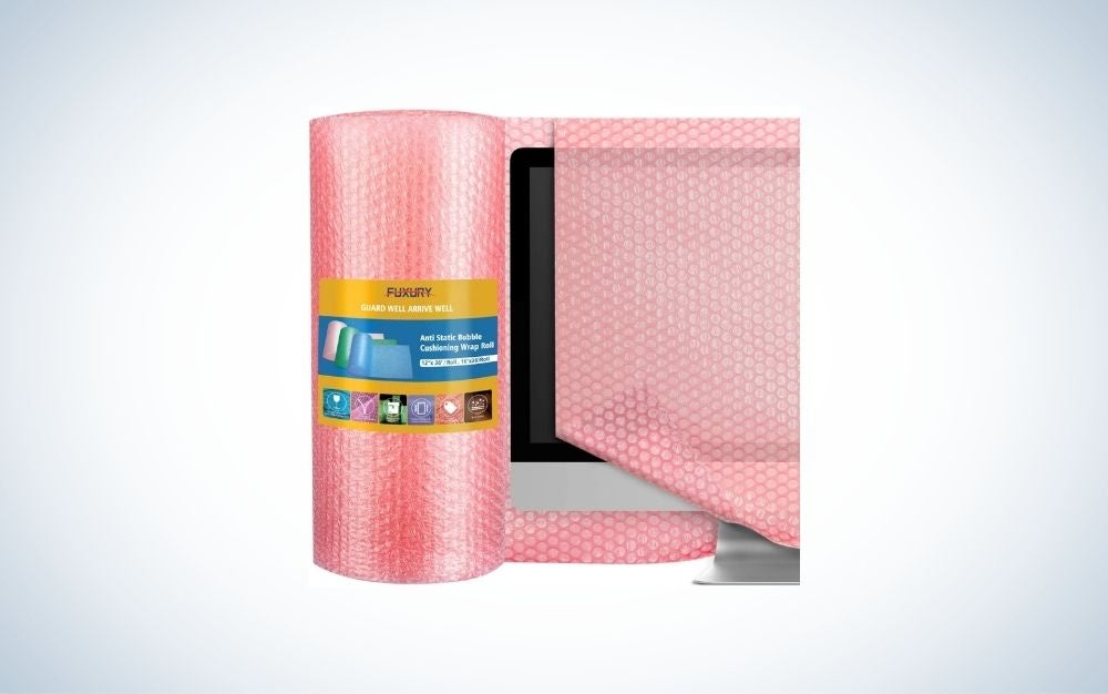 Pink bubble wrap covering a tablet