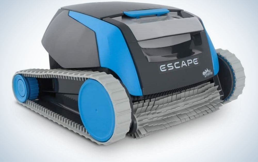 Escape Robotic Above Ground Pool Cleaner with three different colors, blue, grey and black.