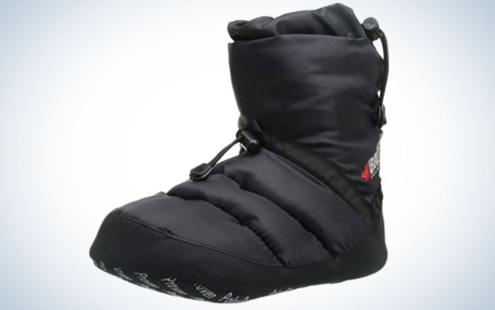 Black synthetic-stuffed booties with written letters from below.