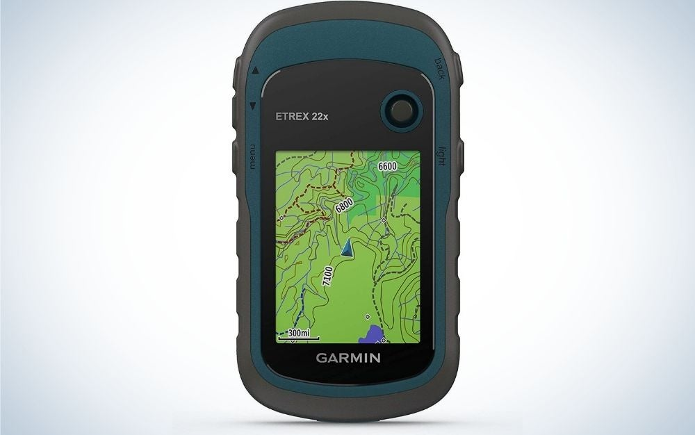 A Garmin eTrex 22x navigator in the form of a black phone with a green screen with maps with routable roads and trails.