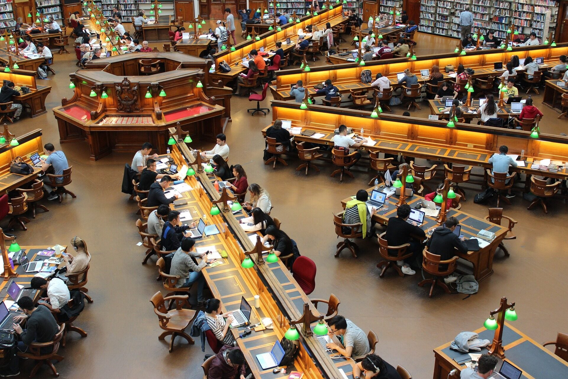 College students study in a hexagon-shaped library