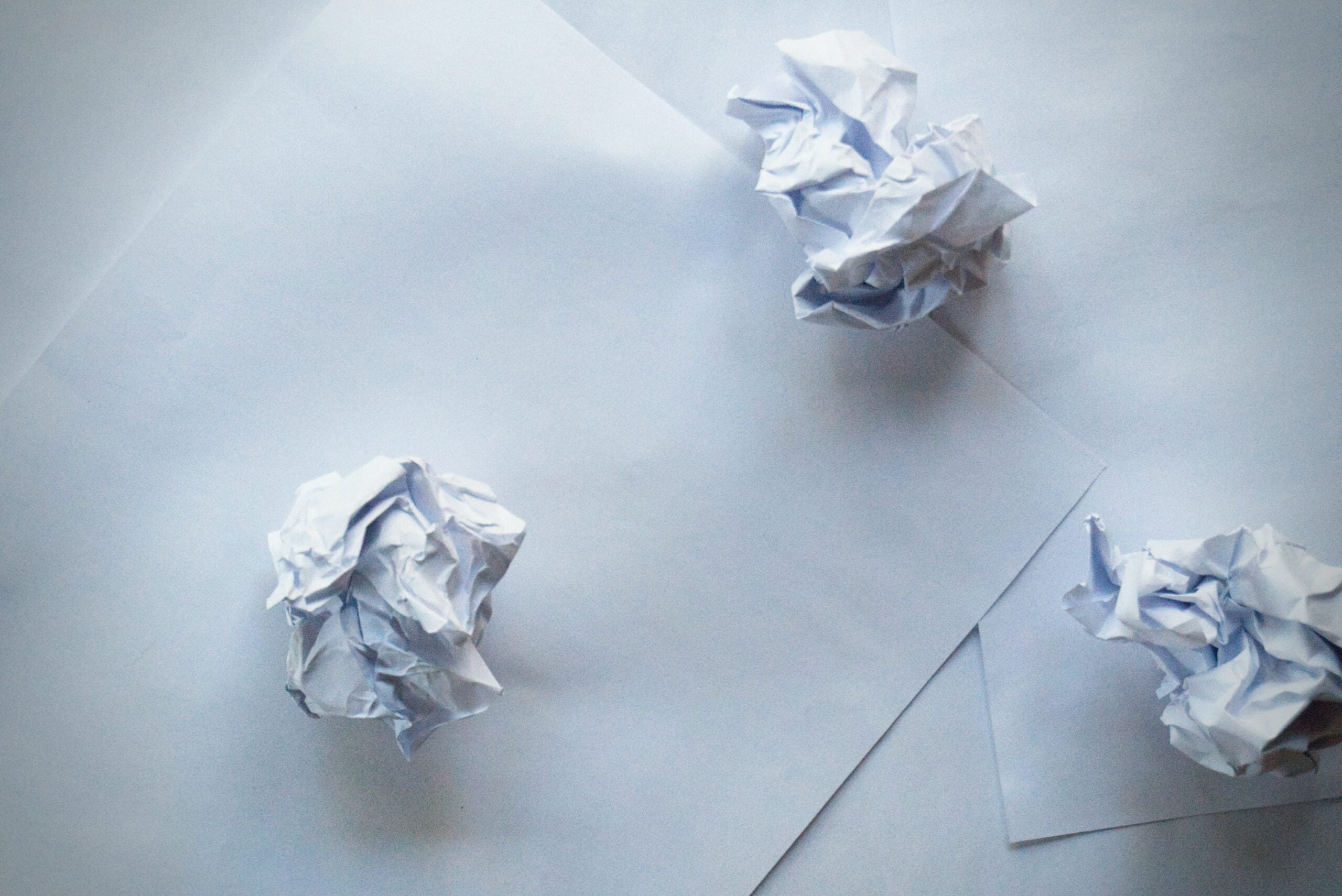Crumpled up paper waste