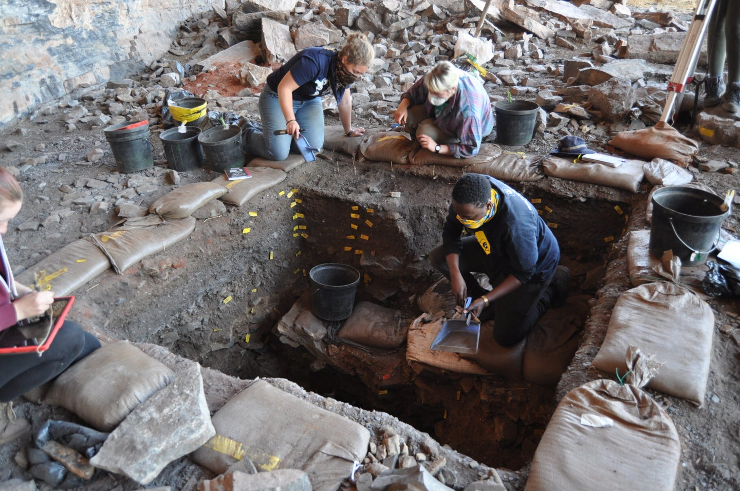 A view of the researchers digging at the excavation site.site