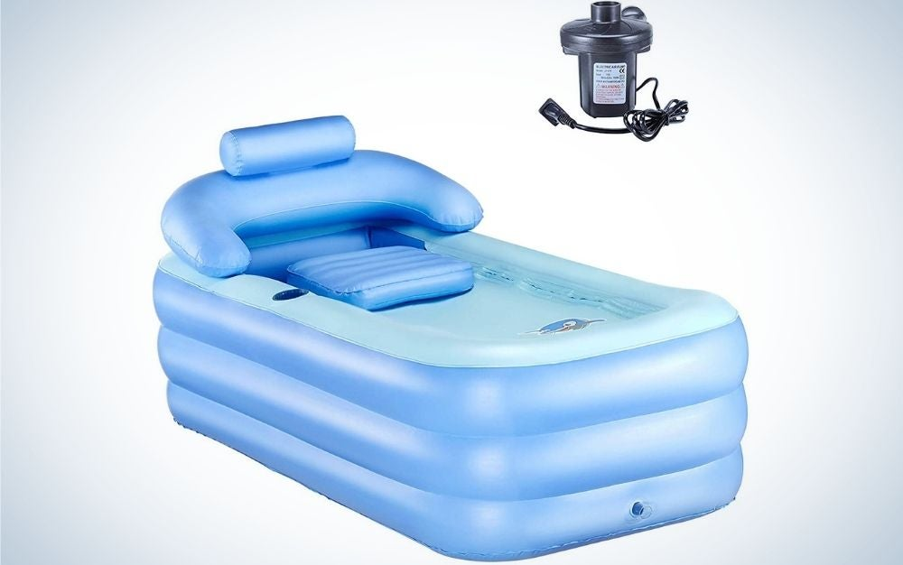 A sky color free-standing blow up bathtub with portable feature for adult spa with black electric air pump in front of it.