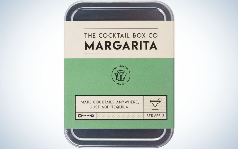Handcrafted cocktail kits named the Margarita Cocktail Kit by The Cocktail Box Co. in the front.