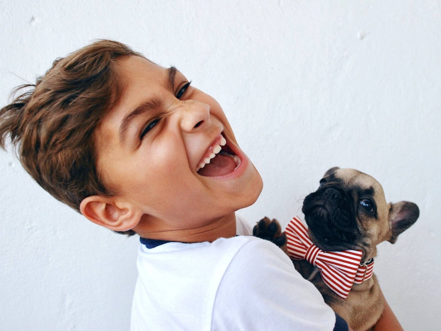 kid holding puppy laughing