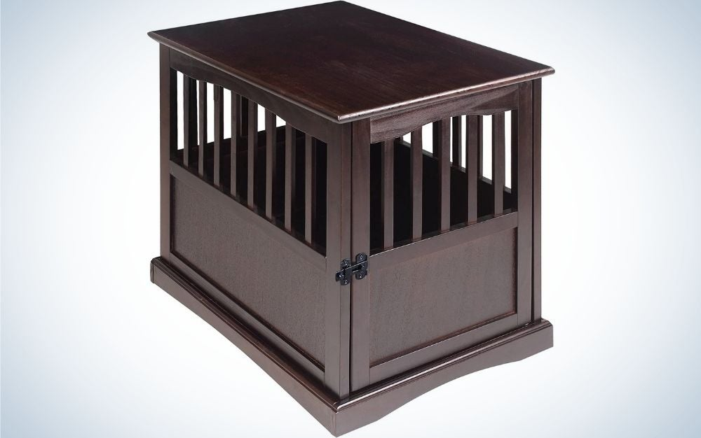 A dark brown dog house in a square form and all doors closed.