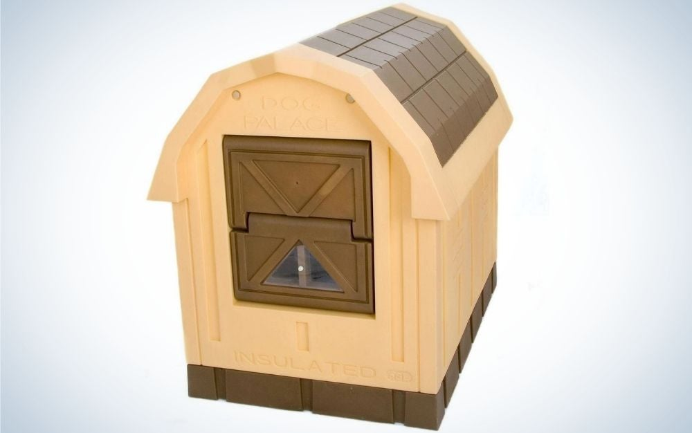 A brown and beige dog outdoor house named Insulated Dog Palace.