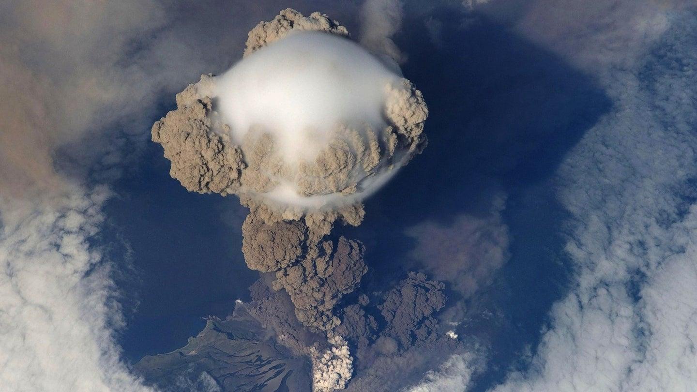 A plume of smoke following a volcanic eruption.