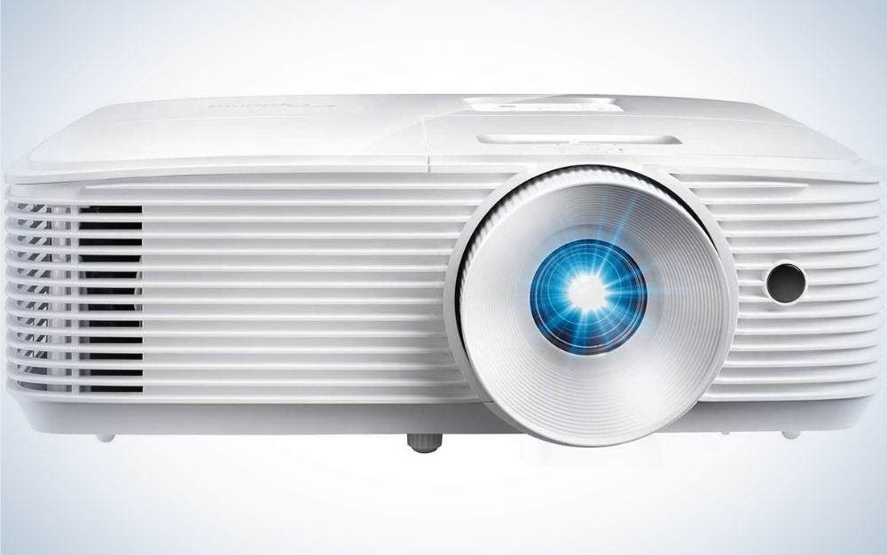 A white square projector from the front with a flash blue light into his lens.