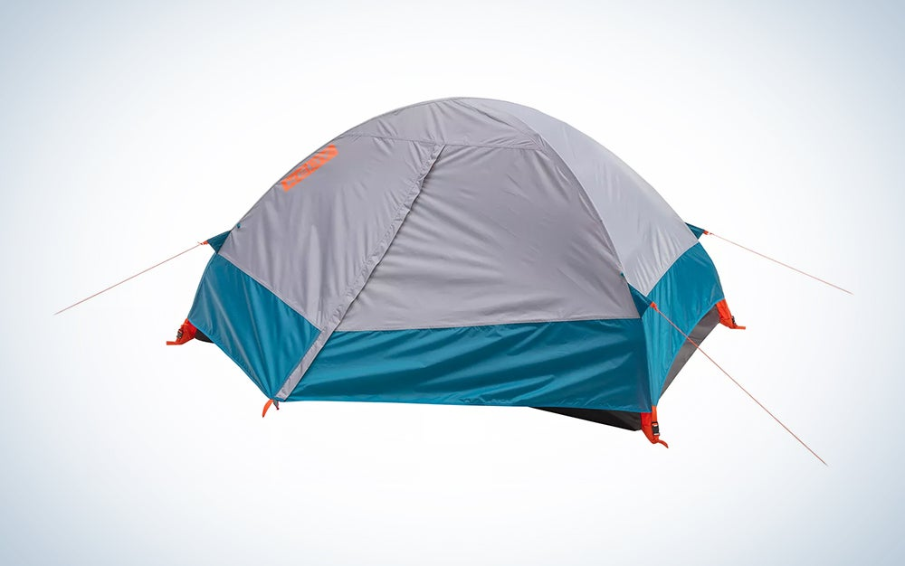 teal and silver camping tent