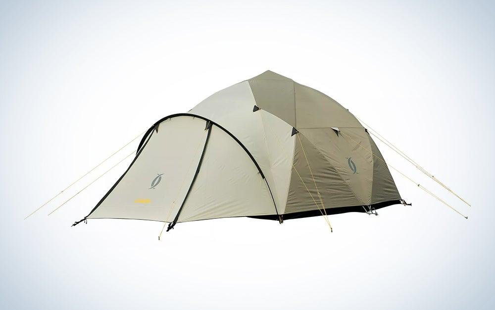 beige winter camping tent
