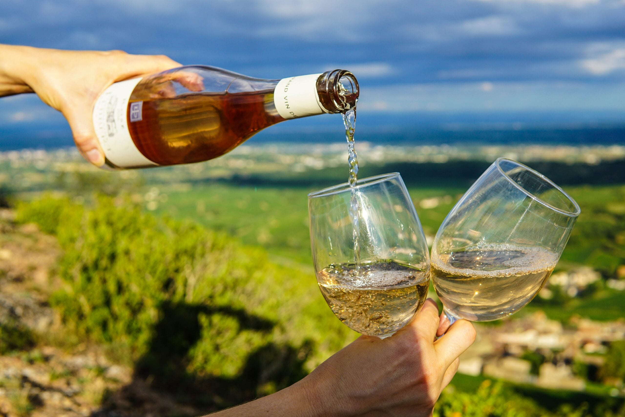 Wine being poired into glasses overlooking natural landscape.