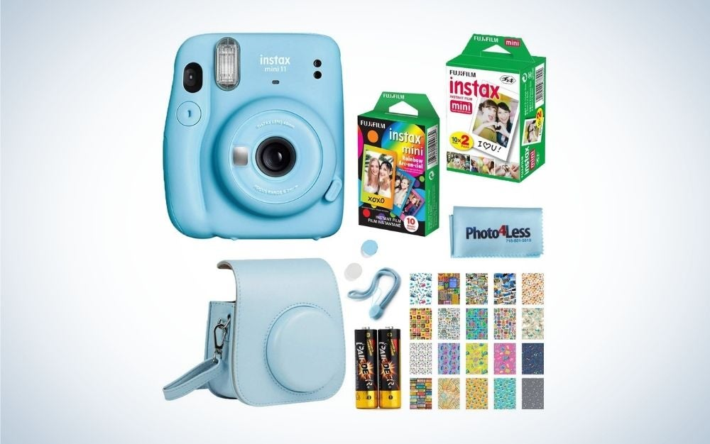 Sky blue instax camera set graduation gifts for her