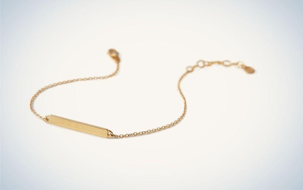Gold engravable bar bracelet graduation gifts for her