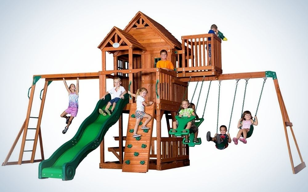 A full set of swing for kids with a wooden roof, trimmed windows, a covered upper porch, unique bay windows and a sun deck, also two belt swings and a two-person glider provides swinging fun for up to 4 kids at once.