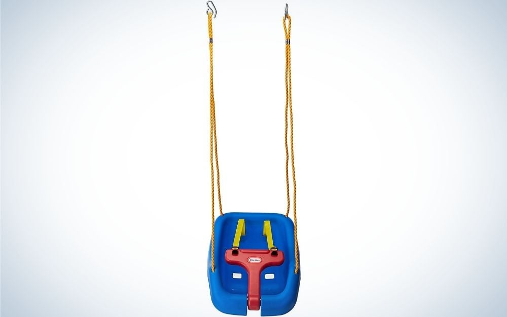 A blue and red strap for little children with orange rope holder.