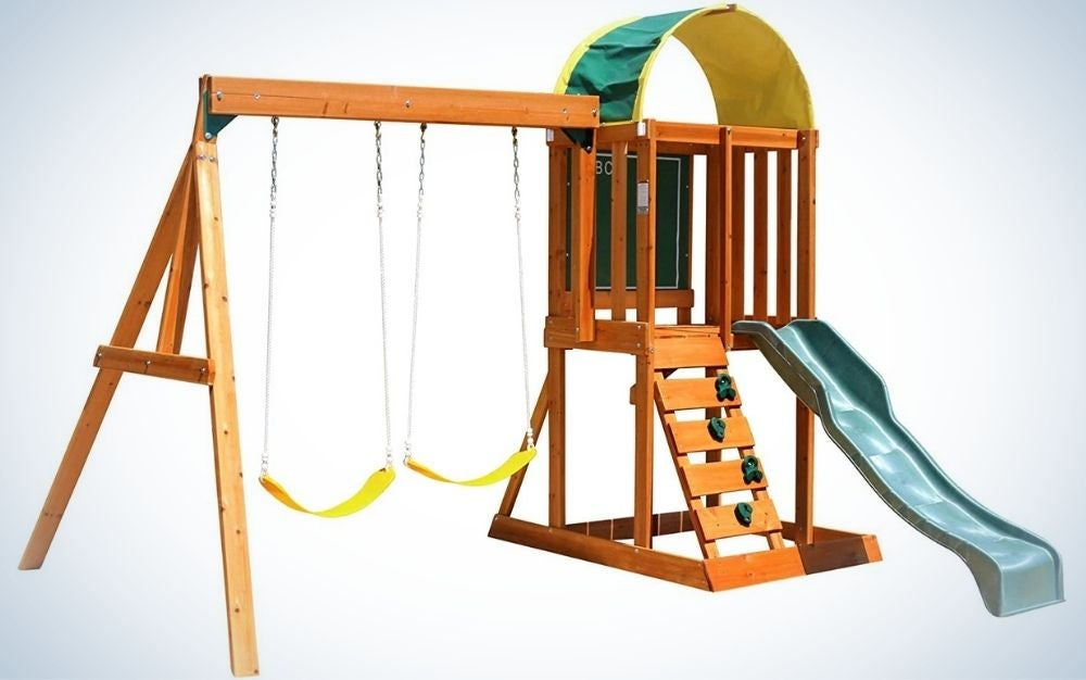 A wooden set swing with two swingers and blue sliding into it.