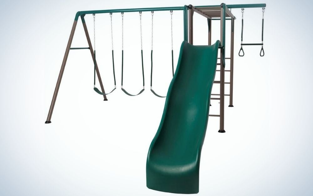 A swing set with three belt swings, one trapeze bar with gym rings, wavy slide, fireman's pole, and monkey bars into it.